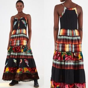 NWT Farm Rio Winter Garden Tiered Maxi Dress
